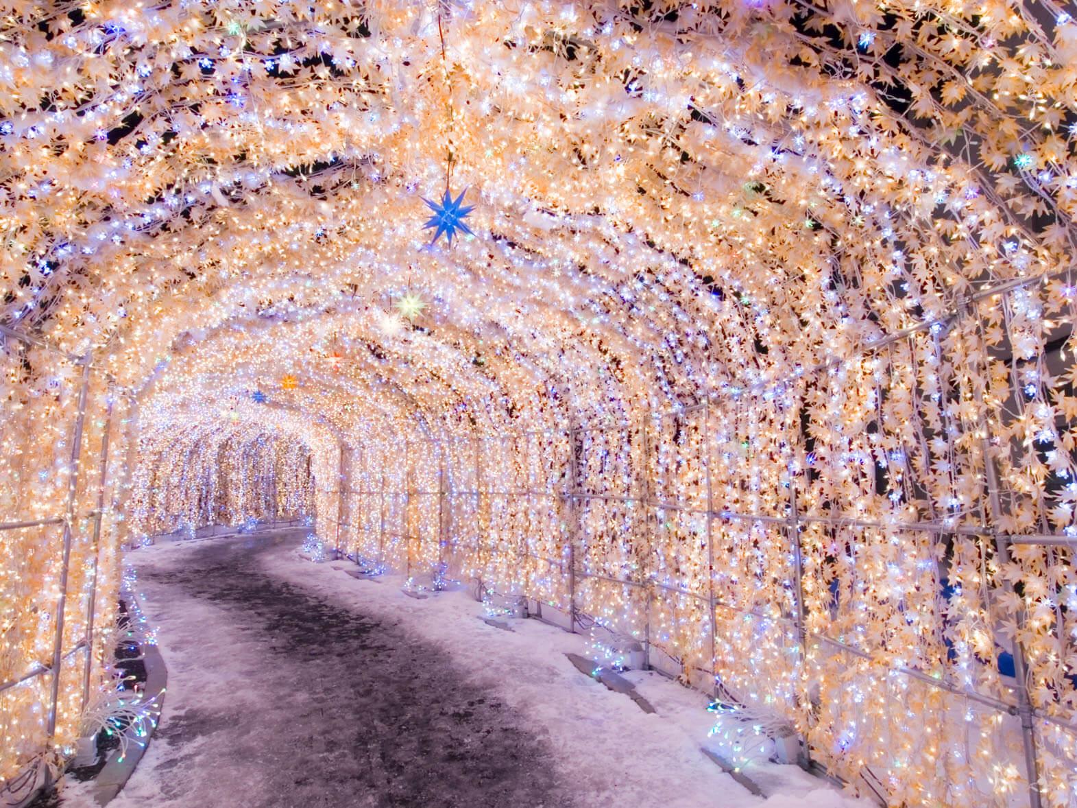 洞爺湖溫泉燈飾節:冬季的溫泉街