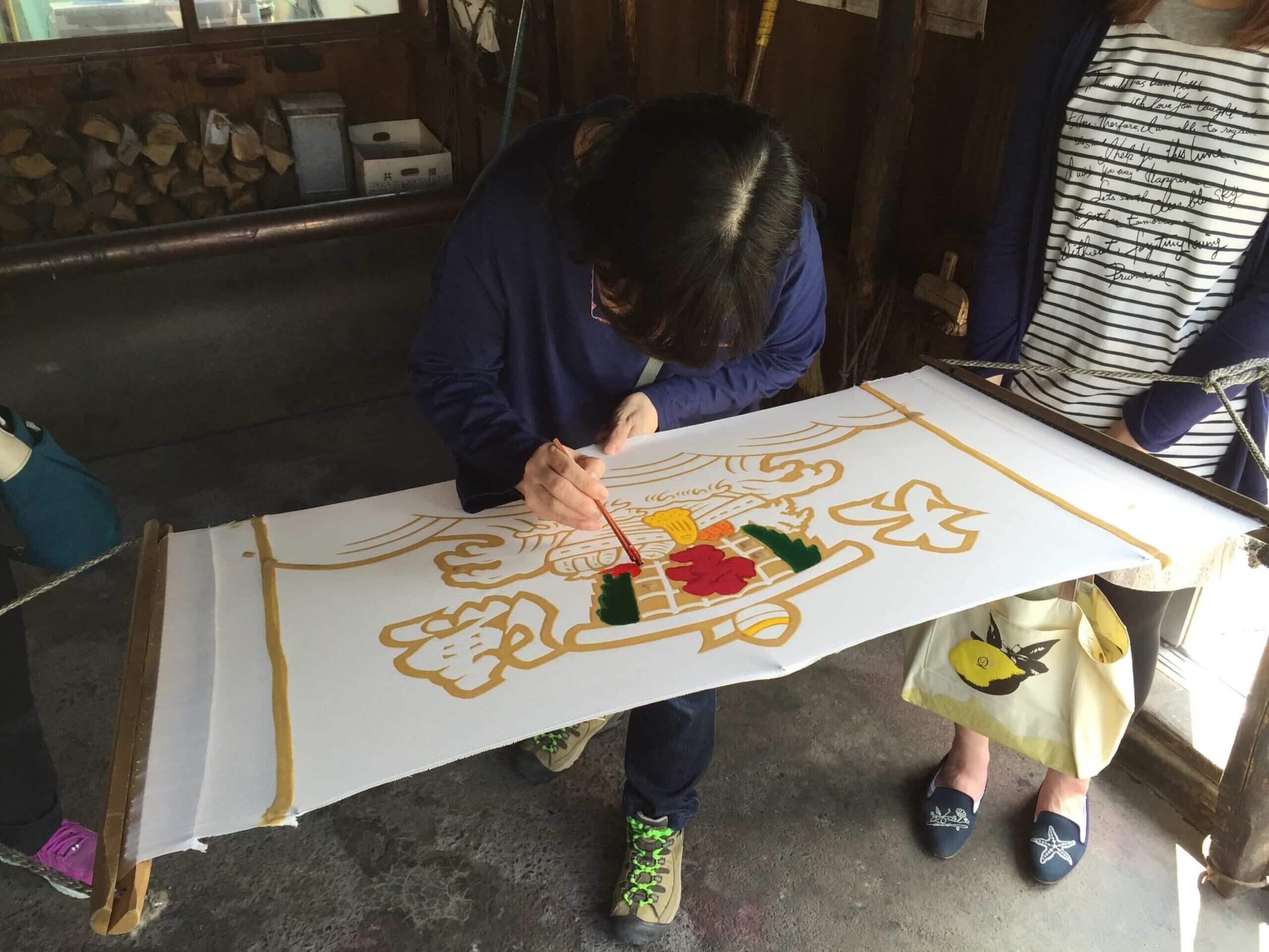 浦河町傳統手作體驗:手工染製大漁旗