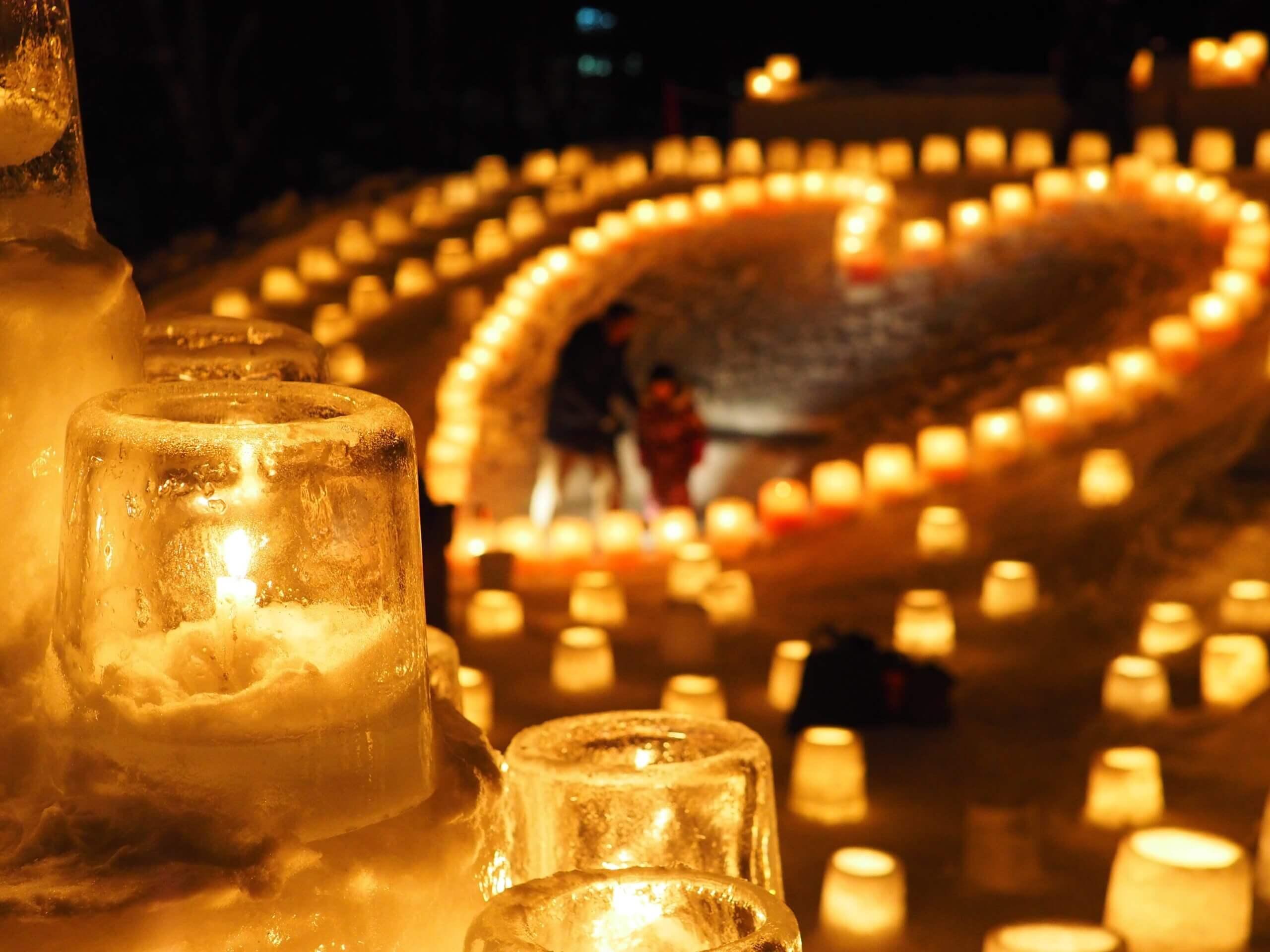 冬季限定浪漫祭典・定山溪溫泉「雪燈路(雪蠟燭之路)」