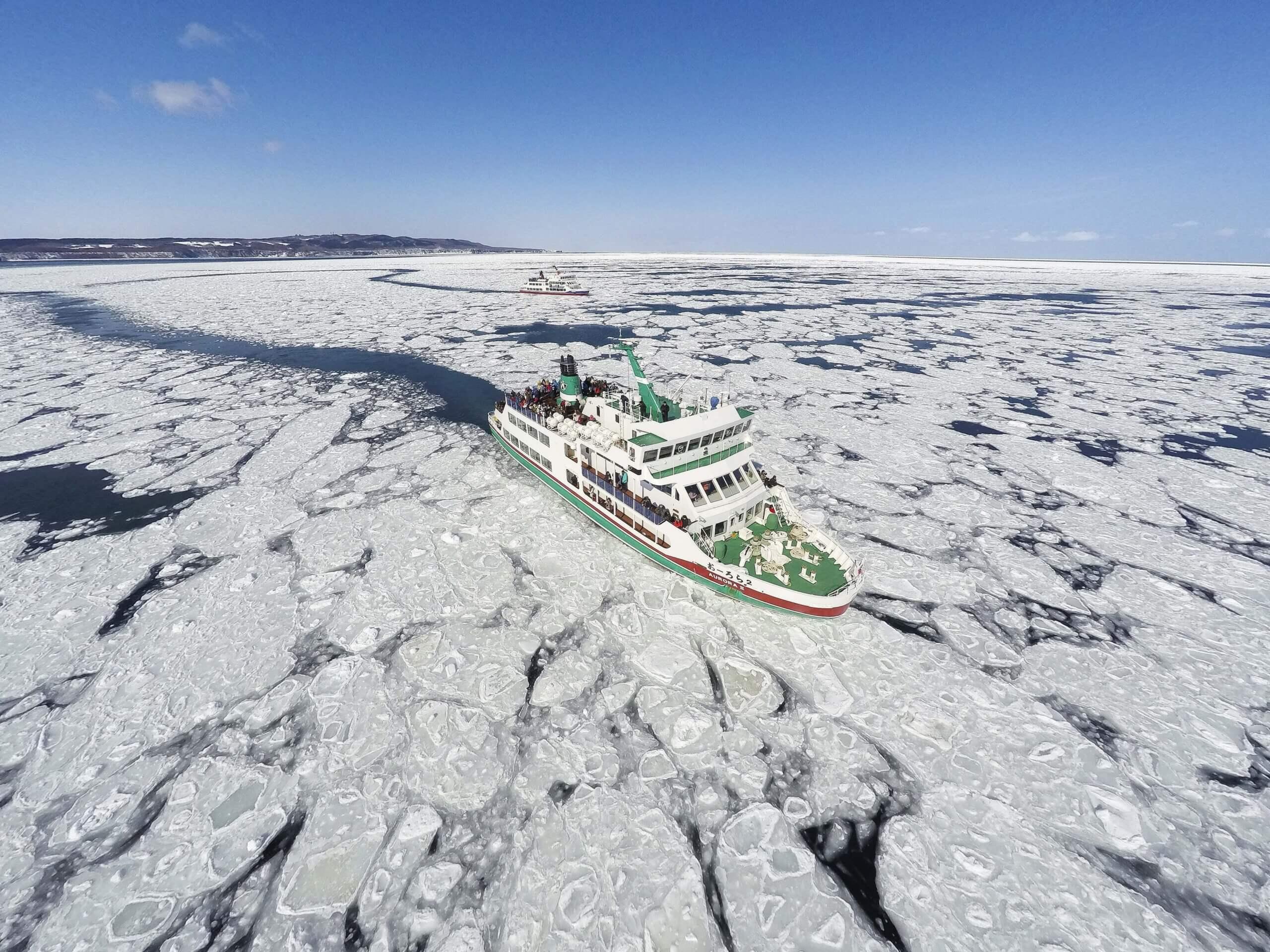 搭上「流冰觀光破冰船極光號」欣賞冬季限定的天然絕景!