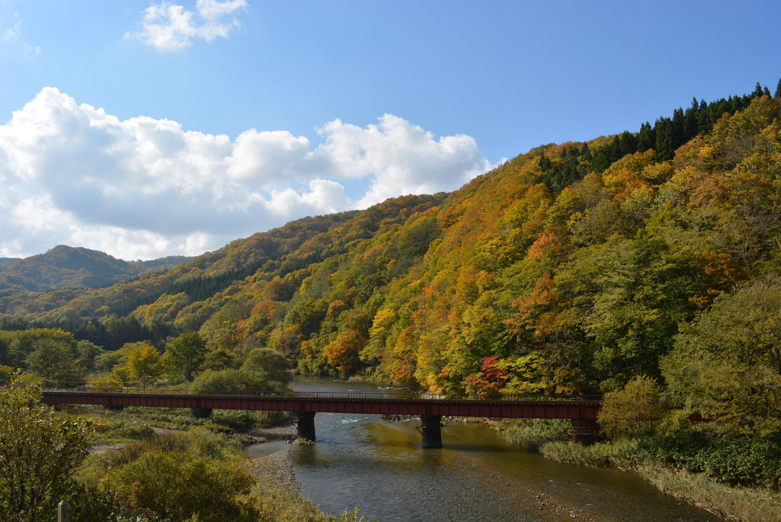 湯之岱地區:由鐵道橋與紅葉相互輝映的美景溫泉兜風路線
