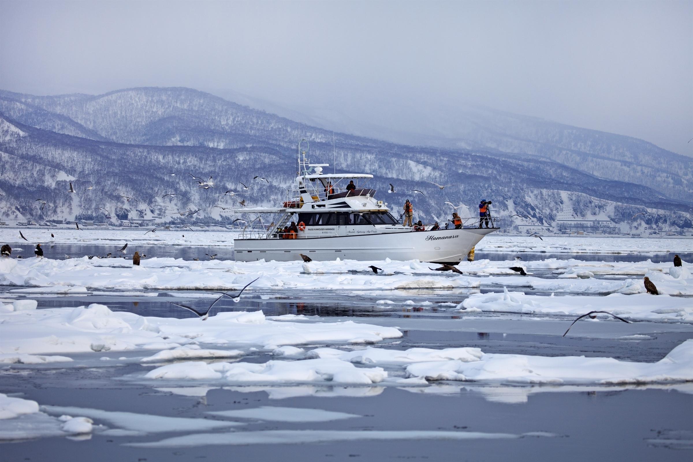 冬季的流冰是俄羅斯的阿穆爾河流入鄂霍次克海時所結成的冰塊。夏季時還能看到虎鯨。©︎GO ITO/SEBUN PHOTO/amanaimages