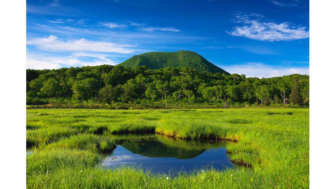 如果想體驗健行活動的話,神仙沼濕原相當受到歡迎。正面看到的是棲舍努普利山 (Chisenupuri)。写真:©YOSHITSUGU NISHIGAKI/SEBUN PHOTO/amanaimages