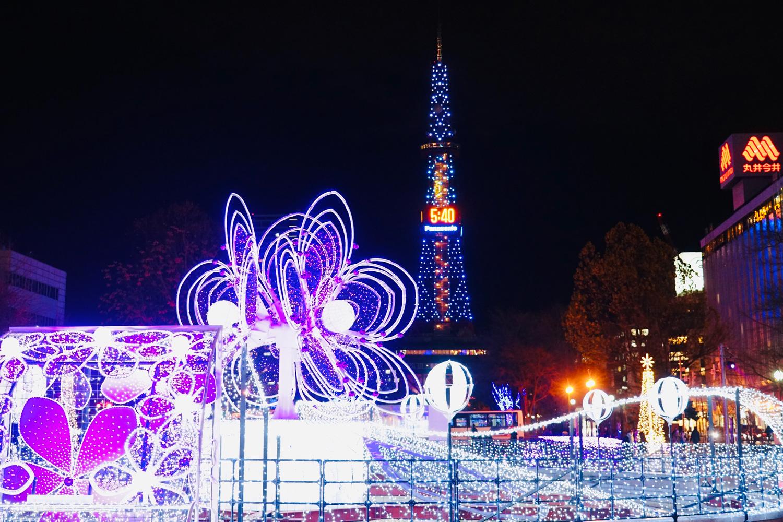 北海道的浪漫冬季彩燈